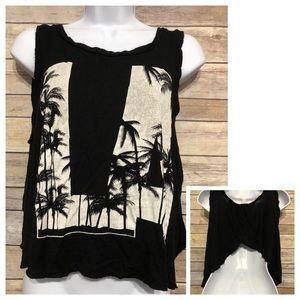 Graphic Tee Sleeveless Top  LA Palm Trees Backless